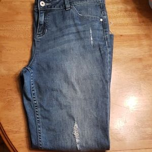 Vera Wang distressed, cropped jeans